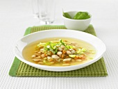 Minestra coi fagioli (Bean and vegetable soup, Italy)