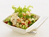 Wheat salad with vegetables and mushrooms (India)