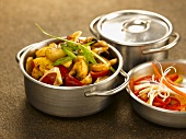 Mixed vegetables in pans (India)