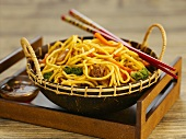 Egg noodles with mushrooms and vegetables