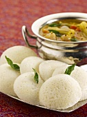 Idli sambar (Steamed rice cakes, India)
