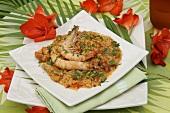 Jambalaya (Prawns on rice, Caribbean)