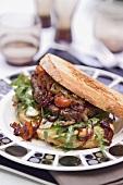 Steak sandwich with tomato salsa