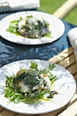 Portobello mushrooms with spinach & Taleggio topping out of doors