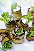 Fried aubergine rolls stuffed with goat's cheese