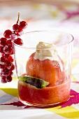 Peach Melba in a glass