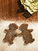 Cut out, unbaked Brunsli bears on sugar