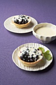 Two blueberry tarts with mascarpone cream