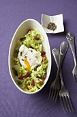 Frisée with bacon and poached egg