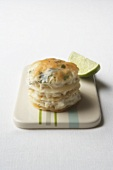 Haddock millefeuille with lime mayonnaise and herbs