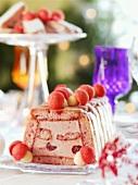 Raspberry mousse encased in sponge fingers