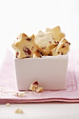 Star-shaped cranberry shortbread cookies
