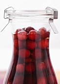 Cranberry vodka in a carafe