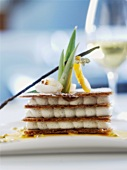 Millefeuille with vanilla cream and passion fruit