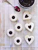 Seven jam-filled almond biscuits