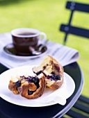 Blueberry brioche on a garden table out of doors
