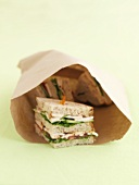 Chicken sandwiches in a paper bag