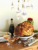 Roast ham studded with cloves, champagne