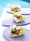 Larb gai in Chinese cabbage leaves (Chicken salad, Thailand)