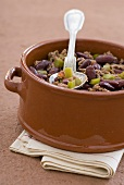 Chili con carne in a ceramic pot