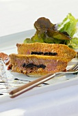 Fried red mullet with salad leaves
