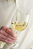 Mann hält ein Glas Weisswein in der Hand