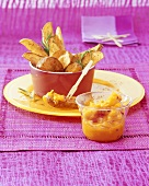 Potato wedges with chilli mango dip