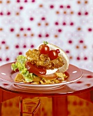 Turkey burger in cornflake coating with tomato & mozzarella