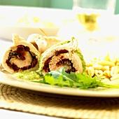 Turkey roulades with rocket pesto and pasta