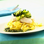 Turbot and courgettes on ribbon pasta with pesto
