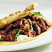 Pancake filled with chili con carne