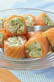 Smoked salmon rolls filled with avocado