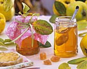 Quince jelly in jars and on bread, quince sweets
