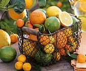 Basket of assorted citrus fruit out of doors