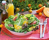 Mixed salad leaves with orange and grapefruit segments
