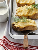 Catfish with potato crust and beer sauce
