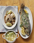 Baked trout with herb butter, trout in beer sauce