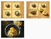 Gefüllte Shiitake-Pilze mit Honig ausbacken