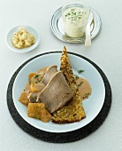 Boiled beef rump with pumpkin and rösti, chive sauce