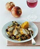 Capon with pumpkin puree on chanterelle and peach ragout