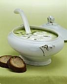 Bärlauchsuppe in einer Suppenterrine mit zwei Scheiben Brot