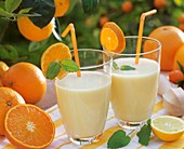 Two glasses of orange milk with mint & straws out of doors