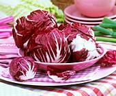Mehrere Radicchio-Köpfe auf Servietten und Tellern