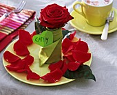 Place-setting with roses, napkin and place card (Cathy)