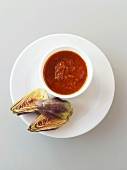 Artichokes with tomato dip