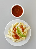 Penne rigate with tomato sauce and basil