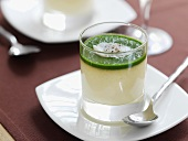 Egg custard with spinach and scallop in a glass