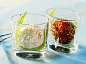 Tomato and fresh goat's cheese sorbet in glasses