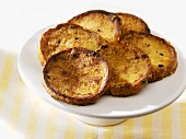 Pain perdu (French toast) made with brioche on stand