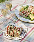 Smoked salmon, cream cheese & cucumber sandwiches for picnic